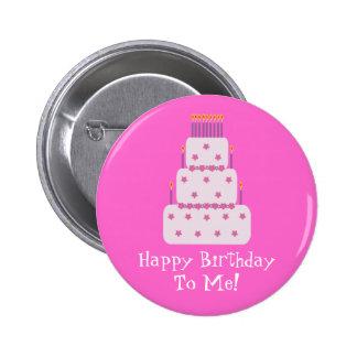 Pretty Customizable Birthday Cake Pink Button