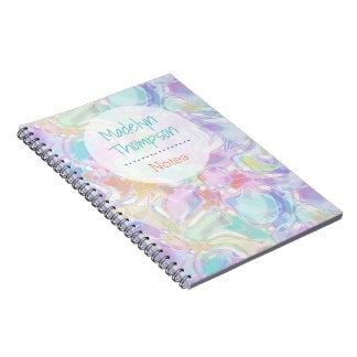 Pretty Cute Colorful Futuristic Swirls Pattern Notebook