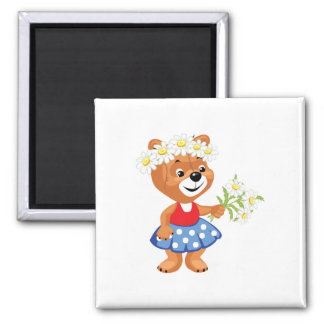 pretty cute daisy girly bear magnet