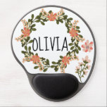 "Pretty Cute Floral Wreath Botanical Personal Name Gel Mouse Pad<br><div class=""desc"">Pretty Floral Wreath Botanical Personal Name Gel Mouse Pad - Change OLIVIA to whatever name or word you want. You can also change the font,  color and size.</div>"
