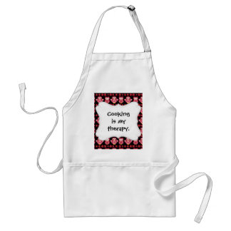 Pretty Cute Pink Owls and Flowers Pattern Black Adult Apron