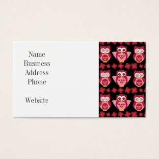 Pretty Cute Pink Owls and Flowers Pattern Black Business Card