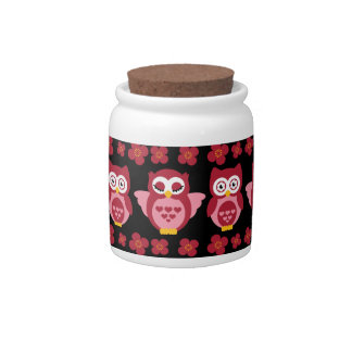 Pretty Cute Pink Owls and Flowers Pattern Black Candy Dish