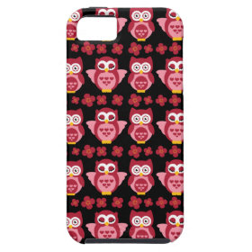 Pretty Cute Pink Owls and Flowers Pattern Black iPhone 5 Covers