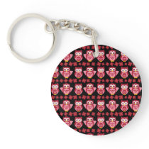 Pretty Cute Pink Owls and Flowers Pattern Black Keychain