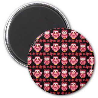 Pretty Cute Pink Owls and Flowers Pattern Black Magnet