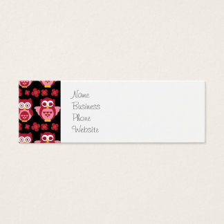 Pretty Cute Pink Owls and Flowers Pattern Black Mini Business Card