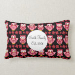 Pretty Cute Pink Owls and Flowers Pattern Black Pillows