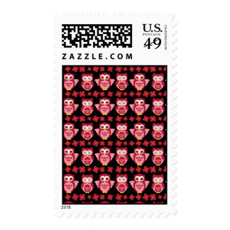 Pretty Cute Pink Owls and Flowers Pattern Black Stamps