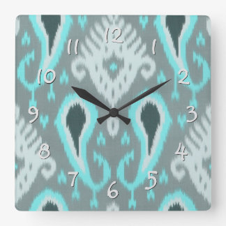 Pretty Cute Trendy Turquoise Ikat Tribal Pattern Square Wall Clock