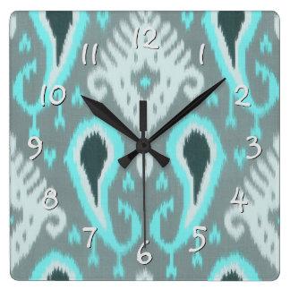 Pretty Cute Trendy Turquoise Ikat Tribal Pattern Square Wall Clock