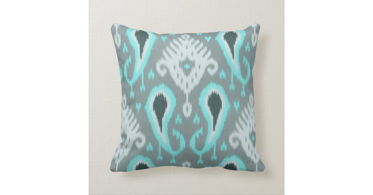 Tribal Design Throw Pillows : Pretty Cute Trendy Turquoise Ikat Tribal Pattern Throw Pillow Zazzle