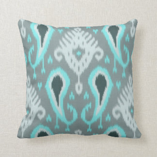 Pretty Cute Trendy Turquoise Ikat Tribal Pattern Throw Pillows