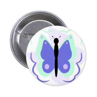 Pretty Cyan And Blue Butterfly Button