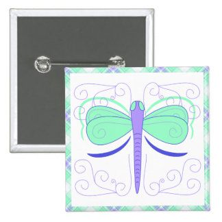 Pretty Cyan And Blue Dragonfly Button
