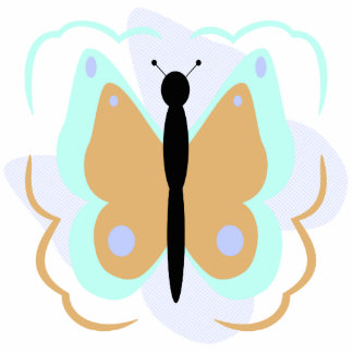 Pretty Cyan And Orange Butterfly Ornament