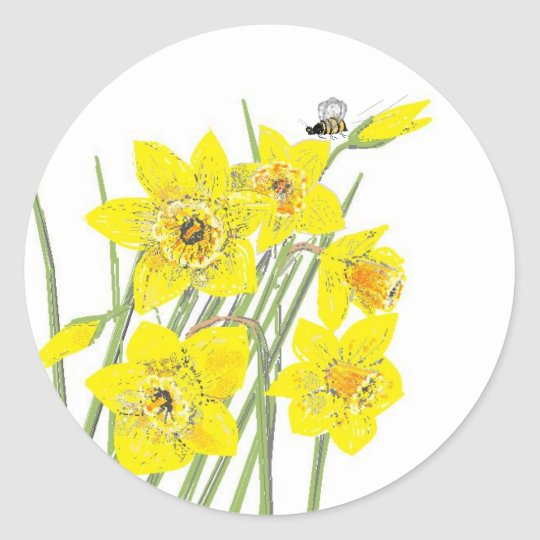 Pretty Daffodils Classic Round Sticker