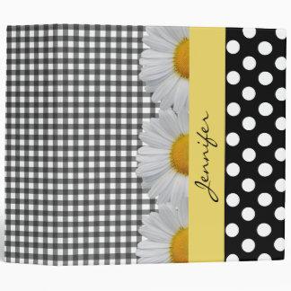 Pretty Daisies and Patterns Custom Binder