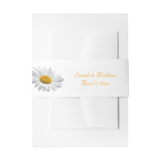 Pretty Daisy Wedding Invitation Belly Band