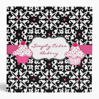 Pretty Damask and Cupcakes Bakery Binder