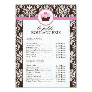 Pretty Damask Bakery Price List Card