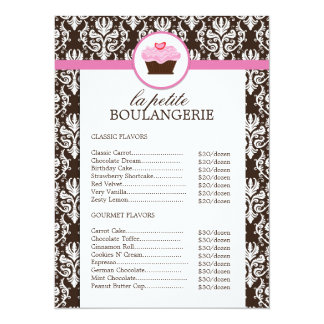 Pretty Damask Bakery Price List Personalized Announcement
