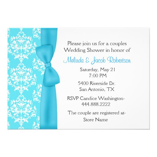 Pretty Damask Couples Wedding Shower Invitation 5 X 7 Invitation Card