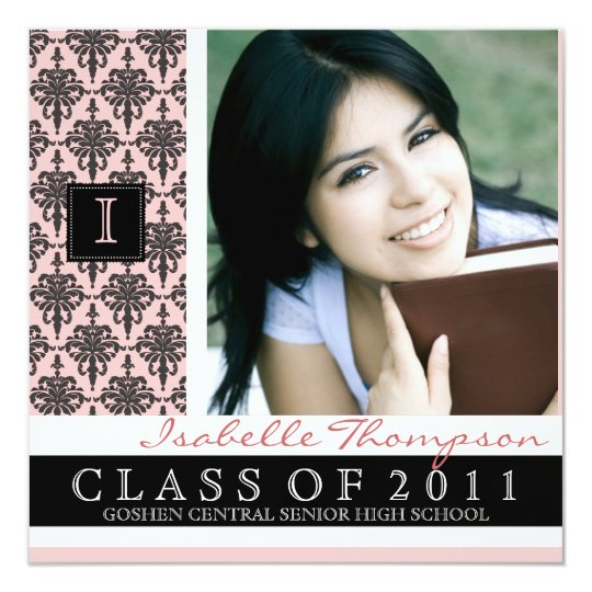Pretty Damask Graduation Announcement Monogram
