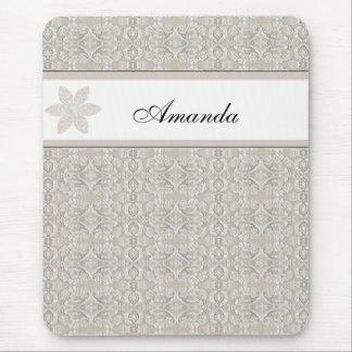 Pretty Damask Lace Design Mouse Pad