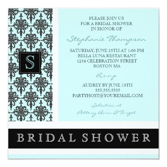 Pretty Damask Monogram Bridal Shower Invitation