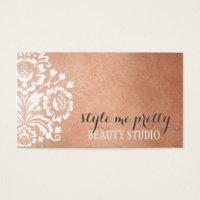 PRETTY DAMASK PATTERN floral serene rose gold foil Business Card