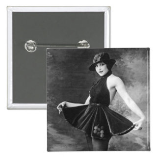 Pretty Dancing Girl 1910s Pinback Button