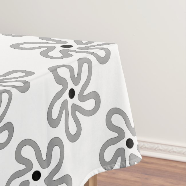 Pretty Dancing Gray Flower Pattern Tablecloth