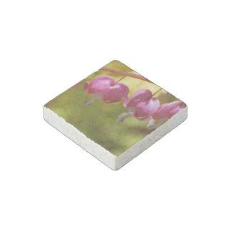 Pretty Dangling Bleeding Heart Flowers Stone Magnet