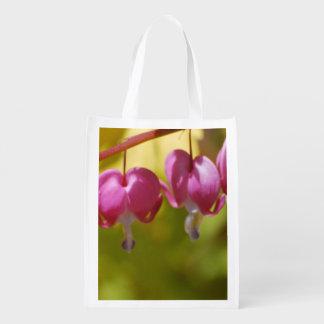 Pretty Dangling Bleeding Heart Flowers Reusable Grocery Bags