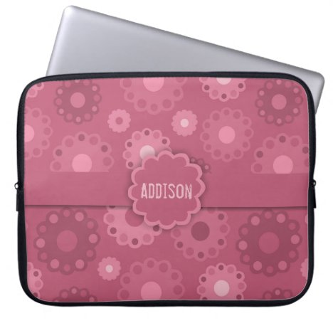 Pretty dark and light pink floral laptop sleeve