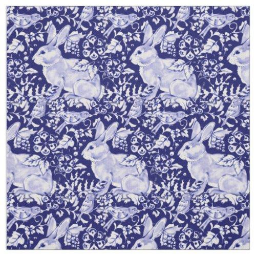 Pretty Dark Blue & White Rabbit Bird Dedham Delft Fabric