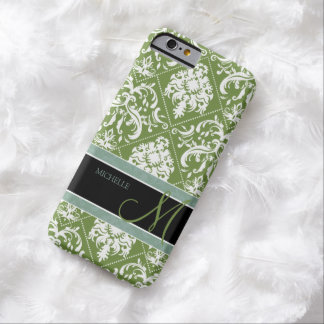 Pretty Dark Olive Green & white damask w/ monogram Barely There iPhone 6 Case