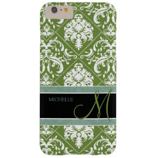 Pretty Dark Olive Green & white damask w/ monogram Barely There iPhone 6 Plus Case