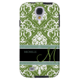 Pretty Dark Olive Green & white damask w/ monogram Galaxy S4 Case