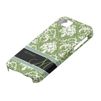 Pretty Dark Olive Green & white damask w/ monogram iPhone 5 Cover