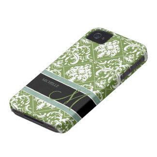 Pretty Dark Olive Green & white damask w/ monogram iPhone 4 Case