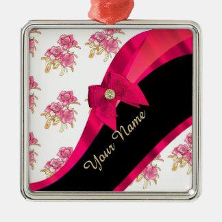 Pretty dark  pink vintage floral pattern metal ornament