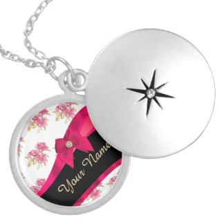 Pretty dark  pink vintage floral pattern silver plated necklace