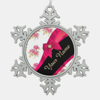 Pretty dark  pink vintage floral pattern snowflake pewter christmas ornament