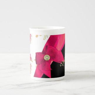 Pretty dark  pink vintage floral pattern tea cup