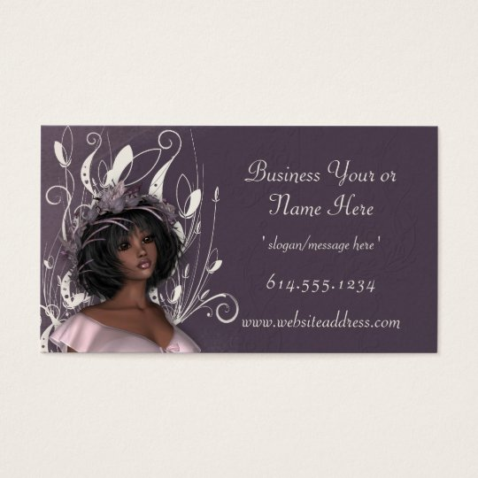 Pretty Dark Skin Lady Decorated Business Cards