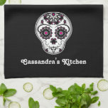 """Pretty day of the dead sugar skull kitchen towel<br><div class=""""desc"""">My version of a sugar skull in white,  hot pink,  and black with lots of elegant accents on a dish towel. Personalize it on both ends with your name.</div>"""