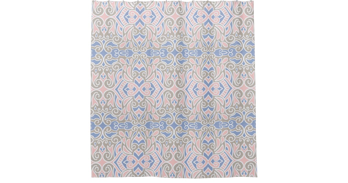 Pretty Decorative Pattern Pink And Blue Shower Curtain Zazzle