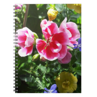 Pretty Deep Pink  and Yellow Flowers Notebook
